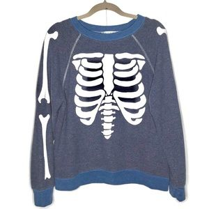Wildfox Blue Inside Out Skeleton Sweatshirt sz XS